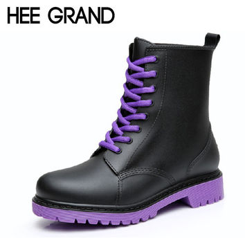 HEE GRAND Women Rainboots 2017 Plain Flat Rubber Ankle Boots Waterproof Lace-up Platform Shoes Woman Size Plus 36-41 XWX3792
