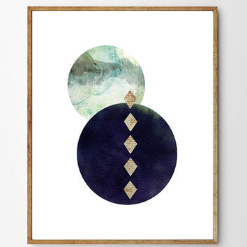 Enigma - Archival Giclee Art Print, collage, vintage, watercolor painting