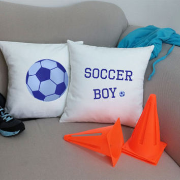 Set of 2 Blue Soccer Boy Soccer ball Pillows - Cotton Covers and/or Cushions - 14x14 and 16x16