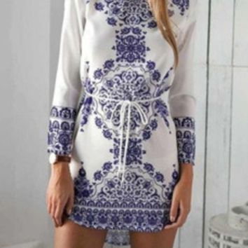 Blue and White Flowers Long Sleeve Mini Dress Casual Party Evening Beach Dress