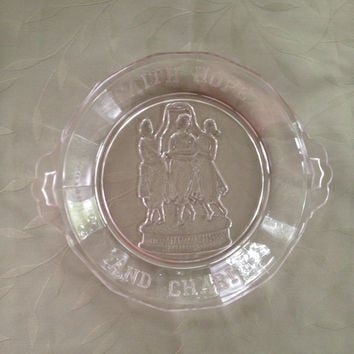 "Three Graces Pie Plate 1875 Special Edition "" Faith Hope and Charity"" Depression Glass Antique Commemorative Plate"