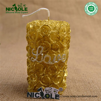 Nicole 3D Rose Silicone Soap Candle Molds DIY Cylinder Candle Moulds Home Crafts Tools Mould LZ0088