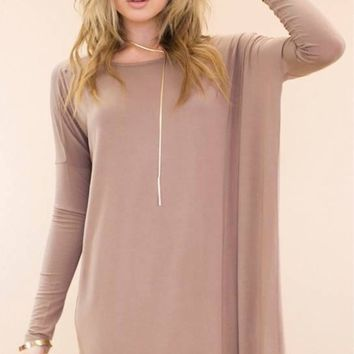 New Women Stylish Plus Size Solid Long Solid Soft Casual Shirt Top Tunic Brown Long Batwing Sleeve Top Loose Blouse Shirt