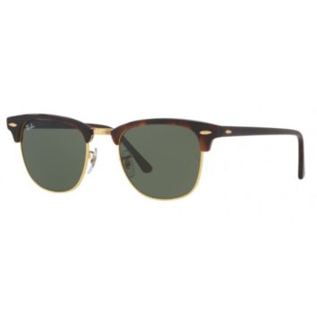 RayBan RB3016 W0366 Clubmaster Sunglasses Tortoise Frame Green Classic G-15 51mm