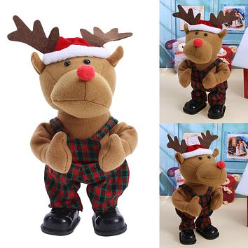 Baby Toys The Christmas Electric Toy Battery Packs Christmas Deer Cloth Dolls For Children Newborn