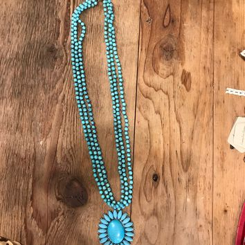 Turquoise Rock Flower Concho Necklace