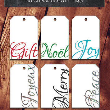 30 Printable Christmas Tags | Instant Download | Script Words DIY Holiday Labels | Christmas Gift Wrapping | Christmas Packaging | 5 colors
