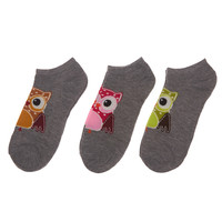 Owl Ankle Sock 3-Pack | Wet Seal
