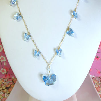 Cinderella blue butterfly Swarovski crystal gold filled necklace