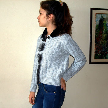 Grey Knitwear Jacket, Vintage Ladies Knit Cardigan Sweater Knitted  Jacket Button up Upcycled Sweater