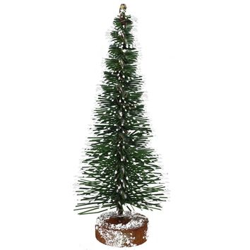 """5"""" Frosted Green Mini Pine Artificial Village Christmas Tree Unlit"""