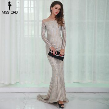 Missord 2018 Sexy O Neck Long Sleeve Women Casual  Dresses Glitter  Maxi Party  Dress  FT8826