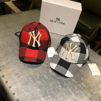 """Gucci x New York Yankees"" Unisex Retro Multicolor Tartan Letter Embroidery Baseball Cap Couple Fashion Peaked Cap Sun Hat"