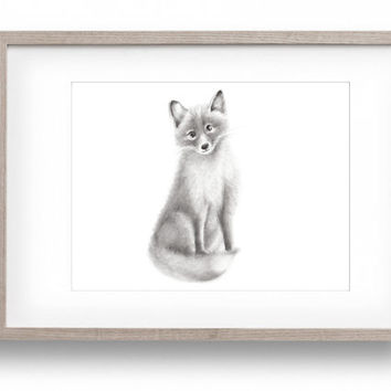 Fox Nursery Art, Woodland Animal, Forest Animal Nursery, Baby Animal Art, Grey Nursery Decor, Wall Decor, Pencil Drawing, Childrens Artwork