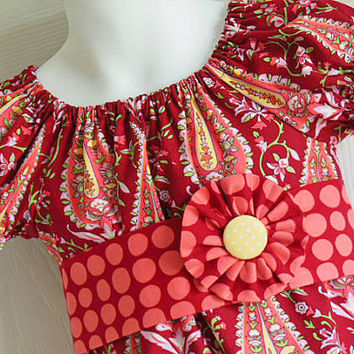 Girls Modern Peasant Dress with Sash and Flower Clip - 3 mos to size 8 - Cypress Paisley in Wine - Love Collection