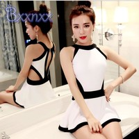 New Sexy High Cut Solid Hollou Out One Piece Swimsuit with Skirt High Neck Patchwork Swimwear White Black Beach Bathing Suits
