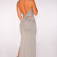 Gray Knotted Cut-Out Back Maxi Dress