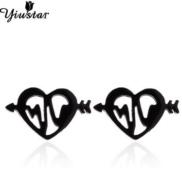 Yiustar Love Earrings Heart Origami Tiny Heart Stud Earrings for Women Stainless Steel ECD Earrings for Kids Girls Gifts Jewelry