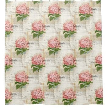 Vintage Pink Hydrangea French Shower Curtain
