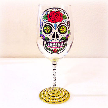 Mexican Wedding, Wine Glass, Sugar Skull, Sugar Skulls, Skull, Rose, Barware, Day of the Dead, Hand Painted, Toasting Glasses, Gifts