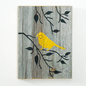 Reclaimed Barnwood Hand-Painted Wood Wall Art Rustic Art - Yellow - Bird on Branch Silhouette Design