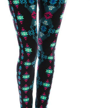 AZTEC PRINT MULTI COLOR LEGGINGS