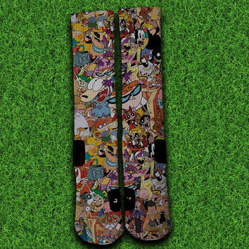 90's Cartoon Socks,Custom socks,Personalized socks,Elite socks