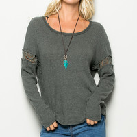 Grey Laced Long Sleeve T-Shirt