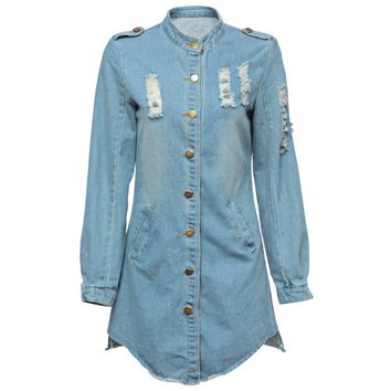 Fashionable Stand-Up Neck Long Sleeve Single-Breasted Denim Women's Dress