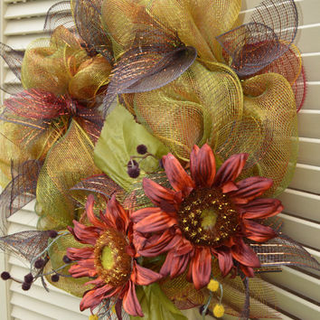 Autumn Fall Ribbon Mesh Wreath - Fall