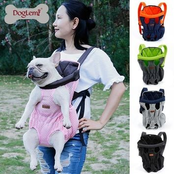 DogLemi Front Pet Dog Carrier Front Chest Backpack Pet Cat Puppy Tote Holder Bag Sling Outdoor Breathable Mesh Dog Bags WP1047