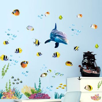 % Underwater Sea Fish Shark Bubble Wall Stickers For Kids Rooms Cartoon Ocean Window Bathroom bedroom Wall Decals poster mural