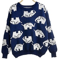 Women Girl Korean Cute Animal Pattern Elephant Crewneck Pull Over Jumper Sweater Medium,Dark Blue