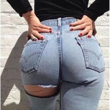 Kylie Jenner High Waist Jeans Hole In Buttocks Sexy Jeans Women Street Snap Cowboy Pants Jeans Female