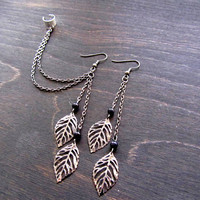 Gunmetal grey leaf filigree double ear cuff earrings, ear cuff earrings