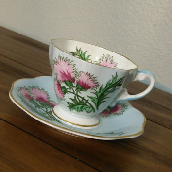 EB Foley bone china Glengarry Thistle, blue and pink teacup and saucer, Foley teacup, Glengarry thistle teacup, English tea set