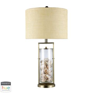 Millisle Table Lamp in Antique Brass and Clear Glass with Shells - with Philips Hue LED Bulb/Dimmer
