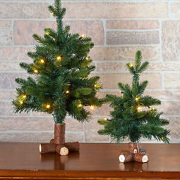 Set Of 2 Woodland Lighted Trees Shelf Table Counter Display Holiday Home Decor