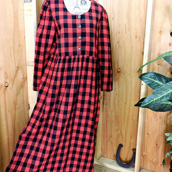 Red flannel dress L / buffalo plaid maxi dress / 80s 90s oversized long grunge cotton dress / made in USA
