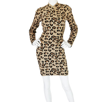 Iconic Fall 1991 Azzedine Alaia Museum Held Leopard Knit Dress