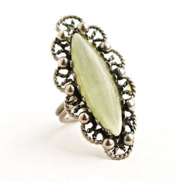 Vintage Filigree Jadeite Ring - Adjustable Statement Silver Tone Semi Precious Stone Costume Jewelry / Light Green Marquise