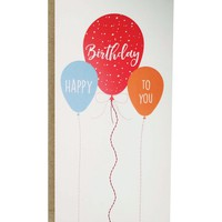 Happy Birthday Balloons Card with sewn paper