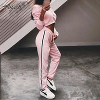 Pofash Hot Sale New Fashion Two Pieces Set Drop Shippin Casual hoodie Long  Sleeve topsa and full  pantsOutfits Side  Suits