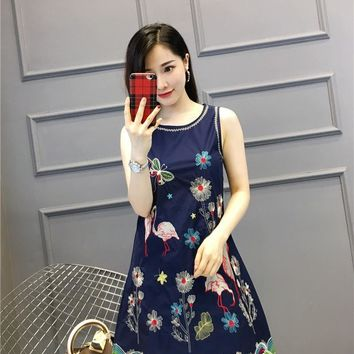 fashion valen Brand summer Flamingo embroidery for women Women's A waist dress Limited Edition drop shipping