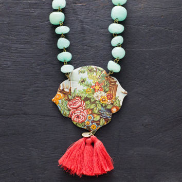 Vintage Tin Necklace with Aqua Stone Beads and Pink Tassel Fringe, Tassel Necklace, Bohemian Necklace, Floral Tin Necklace.