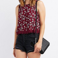 Floral Crochet-Trim Flyaway Top