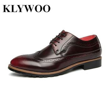 KLYWOO Brogue Men Dress Shoes Leather Men Shoes Oxfords Formal Spring High Quality Le