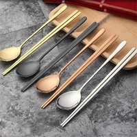 1 Set High Quality Stainless Steel Titanium Plating Solid Korean Dinner Kit Dinning Tableware Dinnerware Sets