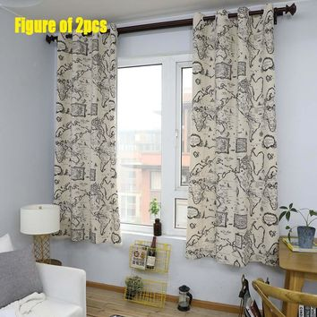 1PC 55*85inch Living Room Vintage World Map Cotton Linen Flat Windows Curtain Bedroom Decoration Half-shadow Bay Window Curtain