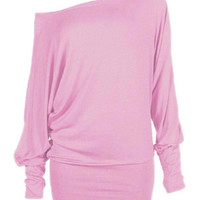 Pink Off Shoulder Long Sleeve T-shirt